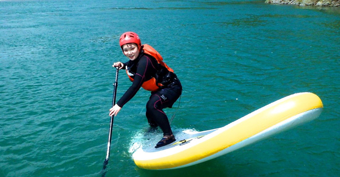 SUP体験ツアーは日本一の清流と呼ばれる仁淀川で行います